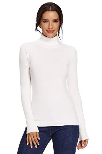 Avacoo Damen Rollkragenpullover Strickpullover Basic Langarmshirt Super Soft Pullover Weiß L 40