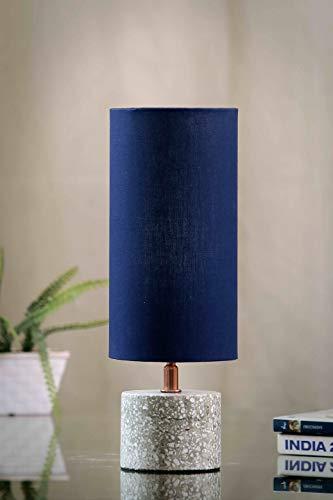 POSH-N-PLUSH Grey Terrazzo Table Lamp with Blue Shade