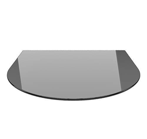 Rundbogen 100x120cm Glas schwarz - Funkenschutzplatte Kaminbodenplatte Glasplatte (Schwarz RB100x120cm - mit Silikon-Dichtung)