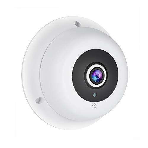 Revotech Fisheye Telecamera IP POE con Audio, Telecamera di Sicurezza Dome da Interno ONVIF 1,7 mm Grandangolare Obiettivo Visione Notturna 3MP H.265 CCTV Videocamera (IF04-Audio-P)