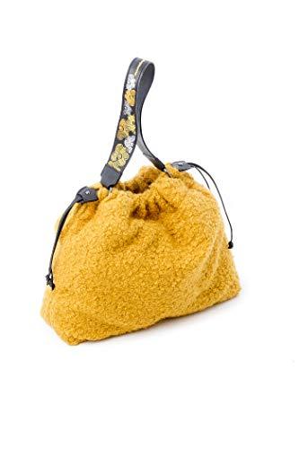 Mamatayoe Mary See, Bolso de mano para Mujer, Amarillo (Faux Fur Yellow), 12x30x38 cm (W x H x L)