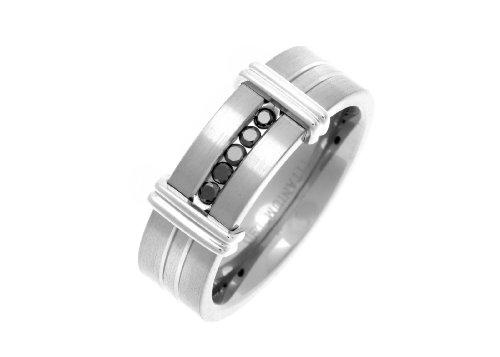 Theia Anillo de Titanio de 7 mm, Corte Plano Mate con Diamante Negro Tratado de 0,15 ct y...