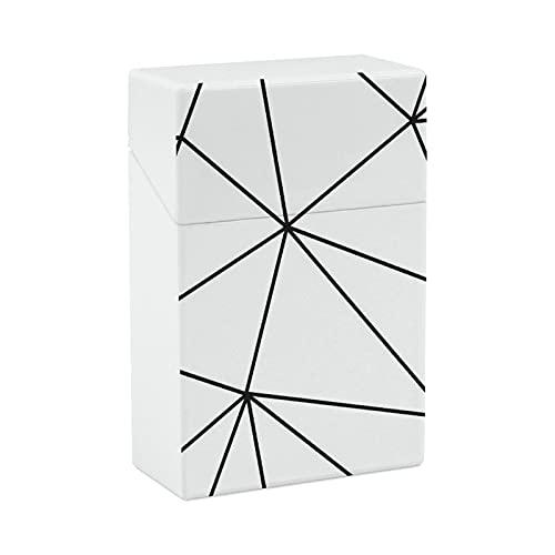 Caja de cigarrillos de plástico Zara Mono Geométrico Blanco Negro Portátil Anti-Presión Flip Cover Cover Novedad Regalos para Hombres Mujeres