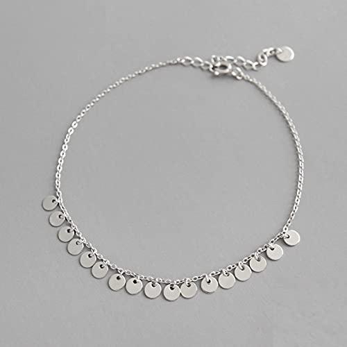 HZYXGS Moda Genuina Plata de Ley 925 Dulce oblea Borla Cadena 20 cm Tobilleras para Mujer Mejor Amigo Regalo de joyería