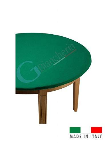 GBiancheria COPRITAVOLO Mollettone Panno Gioco Poker col. Verde Rotondo 135cm Made in Italy