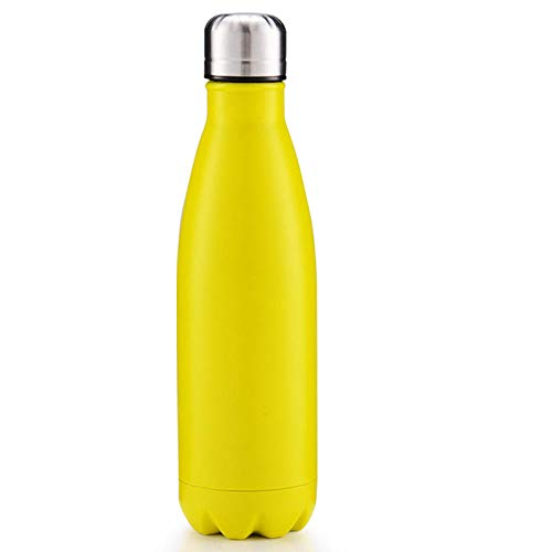 500ml Bottles Leak-Proof BPA-Free Stainless Steel Reusable Water Bottle Double Walled Vacuum Insulated Keeps Cold for 24+ Hrs, Hot for 12 Hrs-Yellow