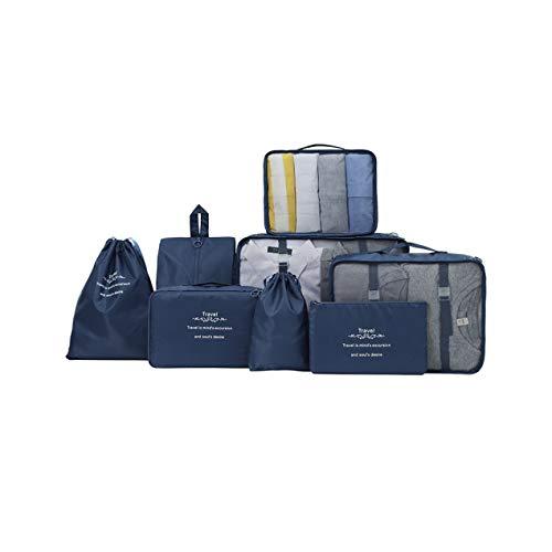 DBSUFV 8 juegos de cubos de embalaje, bolsa de lavado de almacenamiento de viaje, bolsa de almacenamiento de ropa interior, subpaquete, traje portátil, clasificación de equipaje