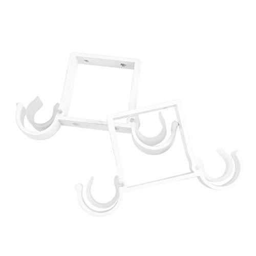 VOSAREA 2pcs Tringle à Rideau en Alliage d'aluminium Double Crochet Support de Montage supérieur (Blanc)