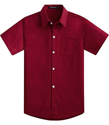 Spring&Gege Jungen Kurzarm Einfarbig Formale Baumwoll Hemden Klassisch Schuluniform Shirts für Kinder Weinrot 140 146