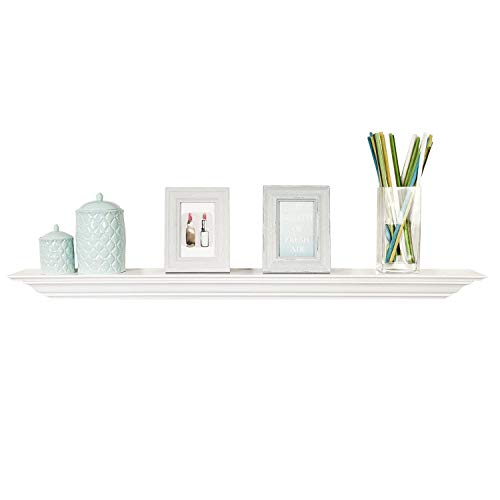 WELLAND White Finished 48 inch Pine Wood Fireplace Mantel Shelf Wall Mounted,Corona Crown Molding Floating Wall Picture Ledge Shelves