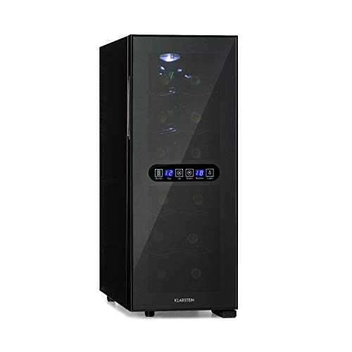 Klarstein Bellevin Duo - Nevera para vinos, 2 zonas, 4 estantes metal cromado, EEC A, Volumen 12 botellas / 33 L, 38 dB, Temperatura regulable, Puerta acristalada, Panel táctil, Pantalla LED, Negro