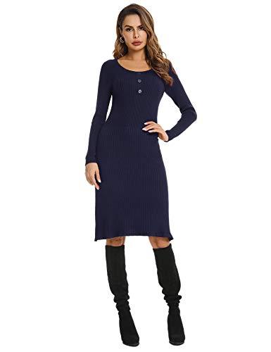 Abollria Sukienka z dzianiny, elegancka sukienka do kolan, z delikatnej dzianiny, rozciągliwy sweter, okrągły dekolt, seksowna sukienka jesienna