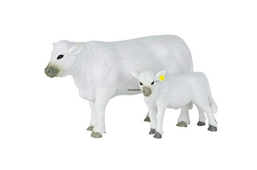 Big Country Toys Charolais Cow & Calf - 1:20 Scale - Hand Painted - Farm Toys - Farm Animals