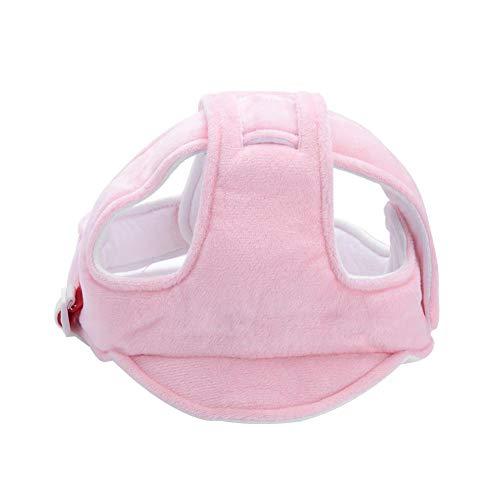 Säuglingsbaby Schutzhelm Verstellbar Sicherheitsschutz Kopfschutz Gurtzeug Kappen Kopfschutz Kissen Mützen Hut mit reizendem Cartoon Tier Muster für das Radfahren Lauflernen(Rosa)