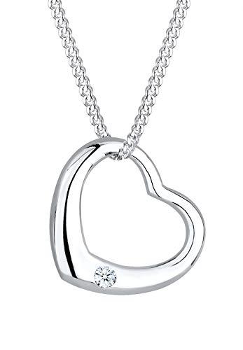 DIAMORE Halskette Damen Herz Anhänger Klassisch mit Diamant (0.03 ct.) aus 925 Sterling Silber