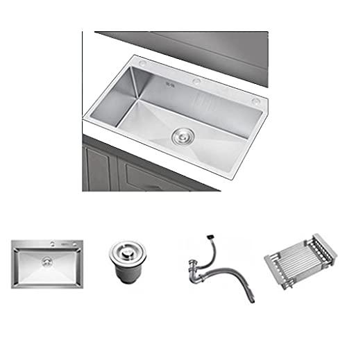 Fregadero manual Fregadero lavavajillas de acero inoxidable 304. Aumento del embalaje de fregaderos domésticos. Pistola de limpieza a presión, ajustable en frío y calor, fuerte poder de limpieza, si