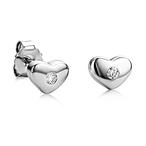 Orovi Mujer Juego de pendientes de tuerca 925de plata pendientes Corazón con diamantes...