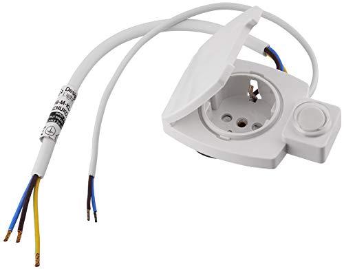 Möbel Einbausteckdose IP44 mit Universal-Schalter - All-in-One - Rahmen + Unterputz-Einsatz + Abdeckung - naturweiß