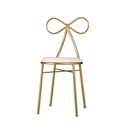 Single Terug Make-up Chair, Dorm Room Dressing Kruk Restaurant Kruk Coffee Shop Stool Kledingwinkel Chair Nail Shop Chair (Color : Gold)