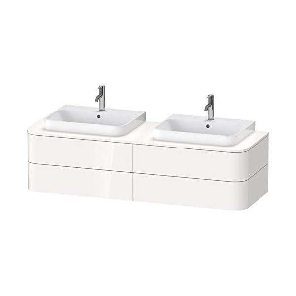 Duravit Happy D.2 Plus Mueble para Consola Mural, 1600×550 mm, 4 cajones, para 2 lavabos de Muebles, Color (Frente…