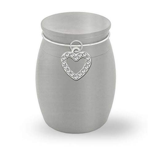 Small Memorial Ashes Holder Rhinestone Heart Container Jar Vial Brushed Stainless Steel Cremation Funeral Mini Urn
