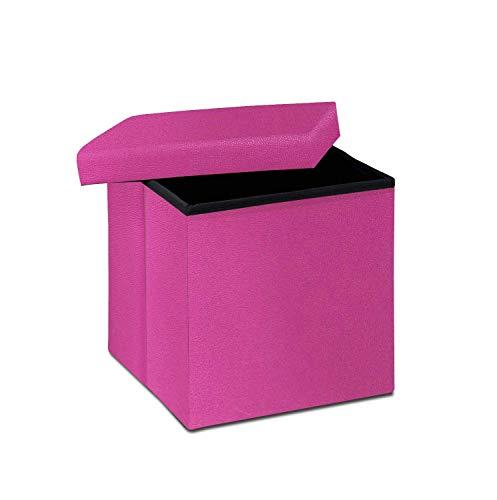 Arpan Ottoman Deluxe Faltbare Aufbewahrungsbox, Faltbarer Sitz, weich gepolsterte Fußstütze, Couchtisch, ideal zur Aufbewahrung von Spielzeug, Bettwäsche, Decken, Kunstleder, Rosa