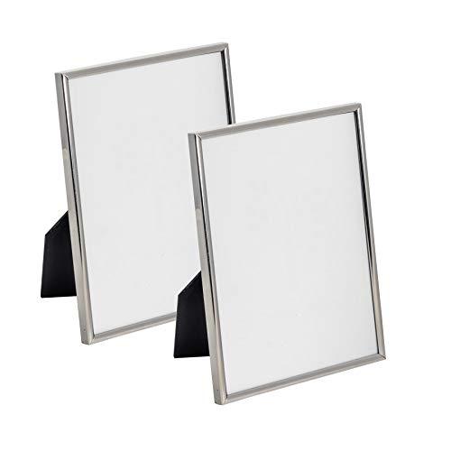 """Cadre photo en métal A5-15,2 x 20,3 cm (6 x 8"""") argenté - À poser - lot de 2"""