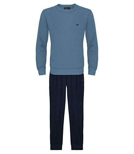 Emporio Armani Herren Schlafanzug Homewear Loungewear Pyjamas 9A562-111818, Farbe:Blau, Größe:M, Artikel:-17431 Indigo/Marine