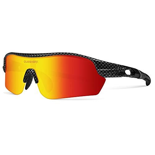 Queshark Occhiali da Sole Sportivi Polarizzati con 4 Lenti Intercambiabili per Uomo Ciclismo Corsa Guida Pesca Golf QE0047