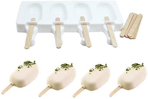 Shenlu Stampo in Silicone per Gelato, con 8 Bastoncini di plastica, 4 stampi Classico Ovale per Gelato, Bianco