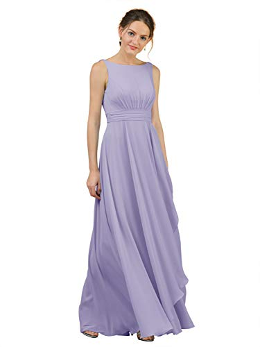 Alicepub Boat Neck Bridesmaid Dresses Chiffon Long Maxi Formal Gown for Women Party Evening, Lilac, US10