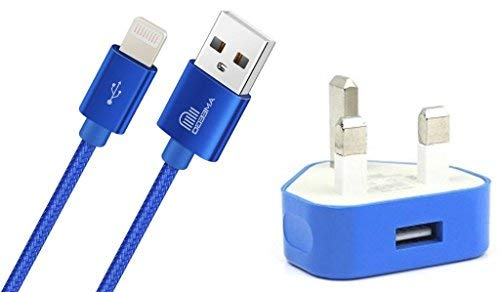 TheMax 1000mAH USB UK Plug Universal Charger + 1 M Cable Braided Compatible for i-Phone 5g 7 7 Plus 8 8Plus 6S Plus 6 Plus SE 5S 5C XS XS Max XR X i-Pad 2 3 4 Mini, i-Pad Pro Air 2, i-Pod (Blue 1Amp)