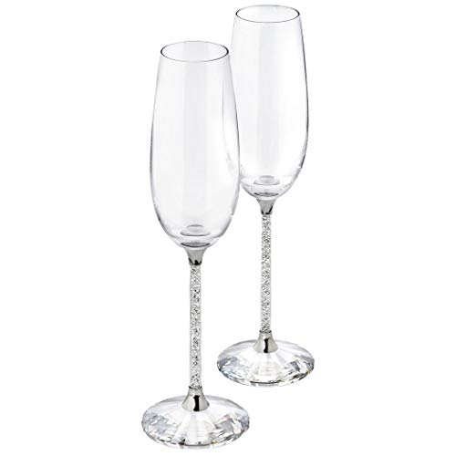 SWAROVSKI CRYSTALLINE TOASTING FLUTES SET OF 2