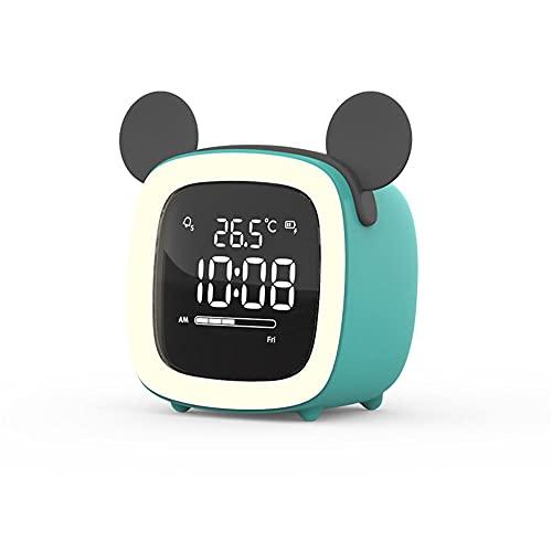BONSPLANPT Reloj De Alarma Carro De Dibujos Animados Led Digital NiñOs Reloj ElectróNico Inicio Luz De Noche Simple-RatóN Verde