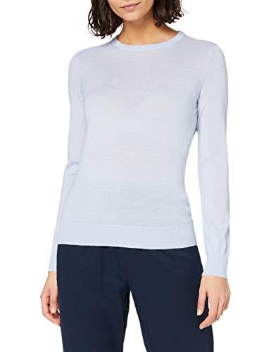 Marchio Amazon - MERAKI Pullover Lana Merino Donna Girocollo, Blu (Light Blue), 42, Label: S