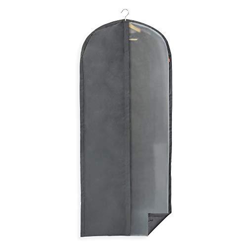 Rayen - Funda de ropa para armario. Funda de traje para percha con cremallera. Cubre vestido resistente al polvo, humedad y polillas. 60 x 135 cm. Gris Oscuro/Translúcido