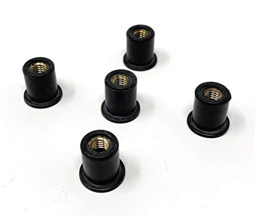 Design61 5x Blindmuttern Gummimuttern mit Anschlagbund M6 Neopren für Auto Motorrad