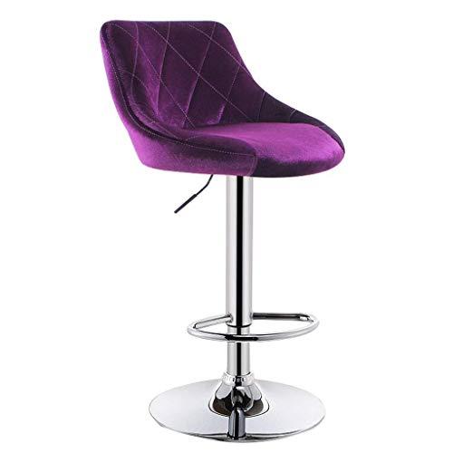 EEYMGR Moderner Verstellbarer Barhocker aus Metall, hochrotierende Bistro-Hochbank mit Chrombasis und Fußstützen-Theke (Color : Purple)
