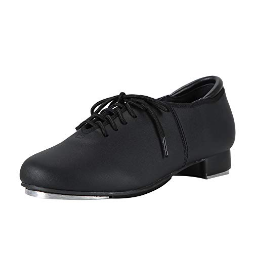 Linodes PU Leather Lace Up Tap Shoe Dance Shoes for Women and Men's Dance Shoes-Black-8.5M