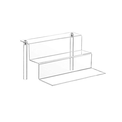 TOUGS Transparent Acrylic Riser Display Stand for POP Figures, 3-Step Acrylic Display Shelf for Cupcake, Dessert, Jewelry, Cosmetic and Craft Show - 12 x 8.5 Inch (1)