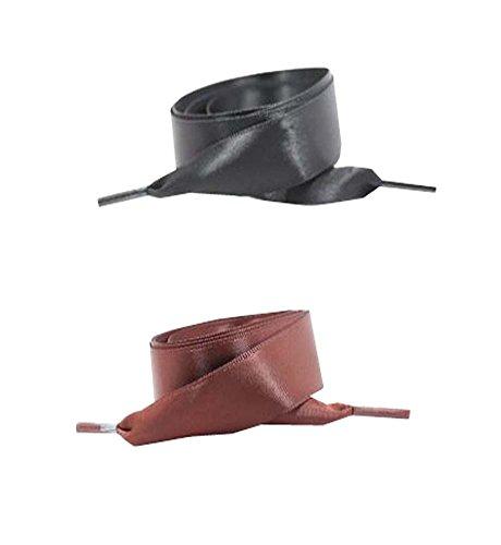 Black Temptation Lacet en Satin Lacets Lacets de Chaussures Plates pour Sneakers 2 Paires Pack 2 CM de Large - A6