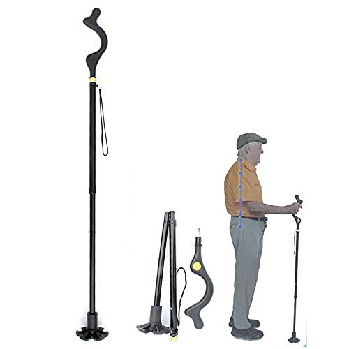 Shmtfa Muletas para Ancianos Multifuncionales,Andador Antideslizante De Cuatro Patas Escalable,BastóN Postura De AleacióN De Aluminio para Personas con Movilidad Reducida