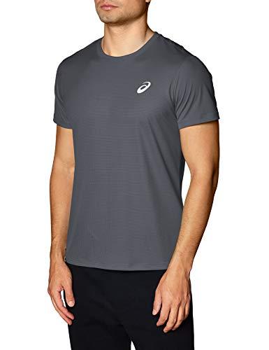 ASICS Herren Laufshirt, kurzärmelig, silberfarben, Herren, kurzärmelig, Silver Short Sleeve Top, dunkelgrau, XX-Large