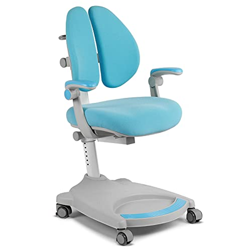 Headerbs Silla de Estudio para niños, sillón ergonómico de Aprendizaje para niños, Altura Ajustable Silla de Escritorio giratoria de Aprendizaje para niños(Azul)