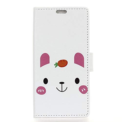 LMFULM® Hülle für Alcatel 3 2019 / 3L 5034D (5,94 Zoll) PU Leder Magnet Brieftasche Lederhülle Kaninchen Liebes Karotte Muster Stent-Funktion Ledertasche Flip Cover für Alcatel 3 / 3L