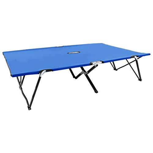 Benkeg Tumbona Plegable para 2 Personas Acero Azul 193 x 125 x...