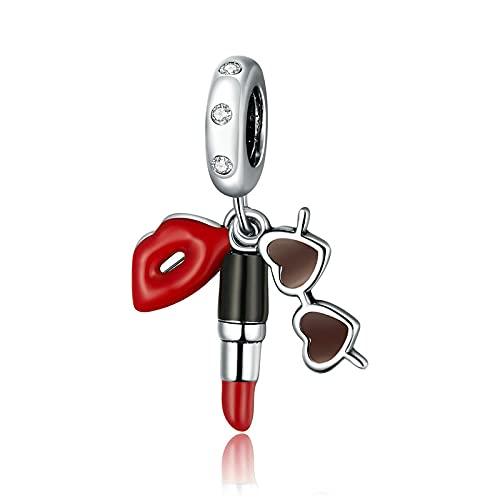 SANHUA Pintalabios Y Gafas De Sol Charm S925 Colgante De Cuentas De Esmalte De Plata Esterlina Se Adapta A La Pulsera Original DIY Collar De Joyería
