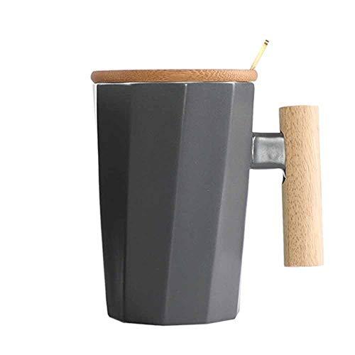 Storage Taza de café de cerámica con Caja de Regalo, Tazas de té Elegantes con Tapa y Cuchara, Tazas de Leche de cerámica Grande con asa 365ml, Regalos creativos para Amigos y familias