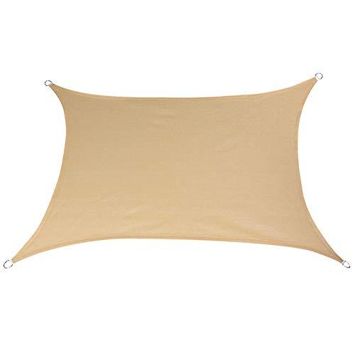 GZHENH-Sichtschutznetz Sonnensegel Rechteck 3D Ziehring Faltbar Faltenprävention Atmungsaktiv Anti-UV Terrasse Polyester 5 Größen, 4 Farben (Color : Beige, Size : 3x4m)