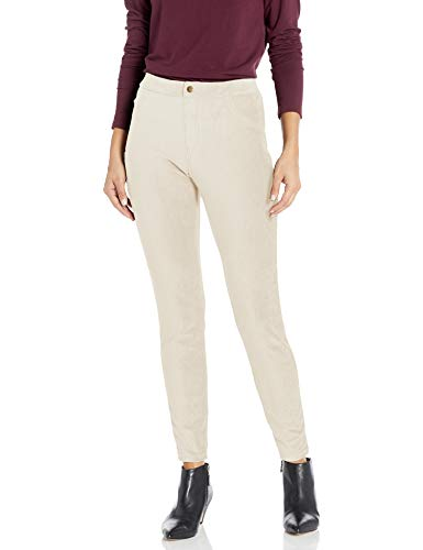 HUE Women's Corduroy Leggings, white satin - Thin Wale, Large